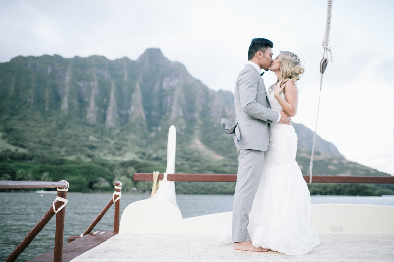 bride and groom portraits boat ride